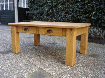 Grenen salontafel vierkante poot