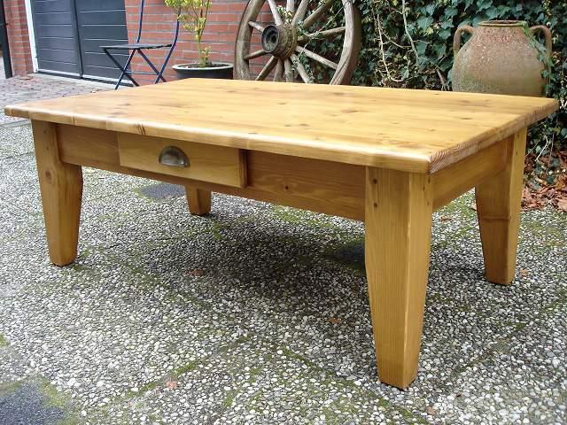 grenen salontafel met lade