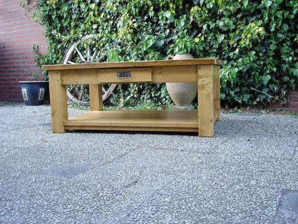grenen salontafel met onderblad