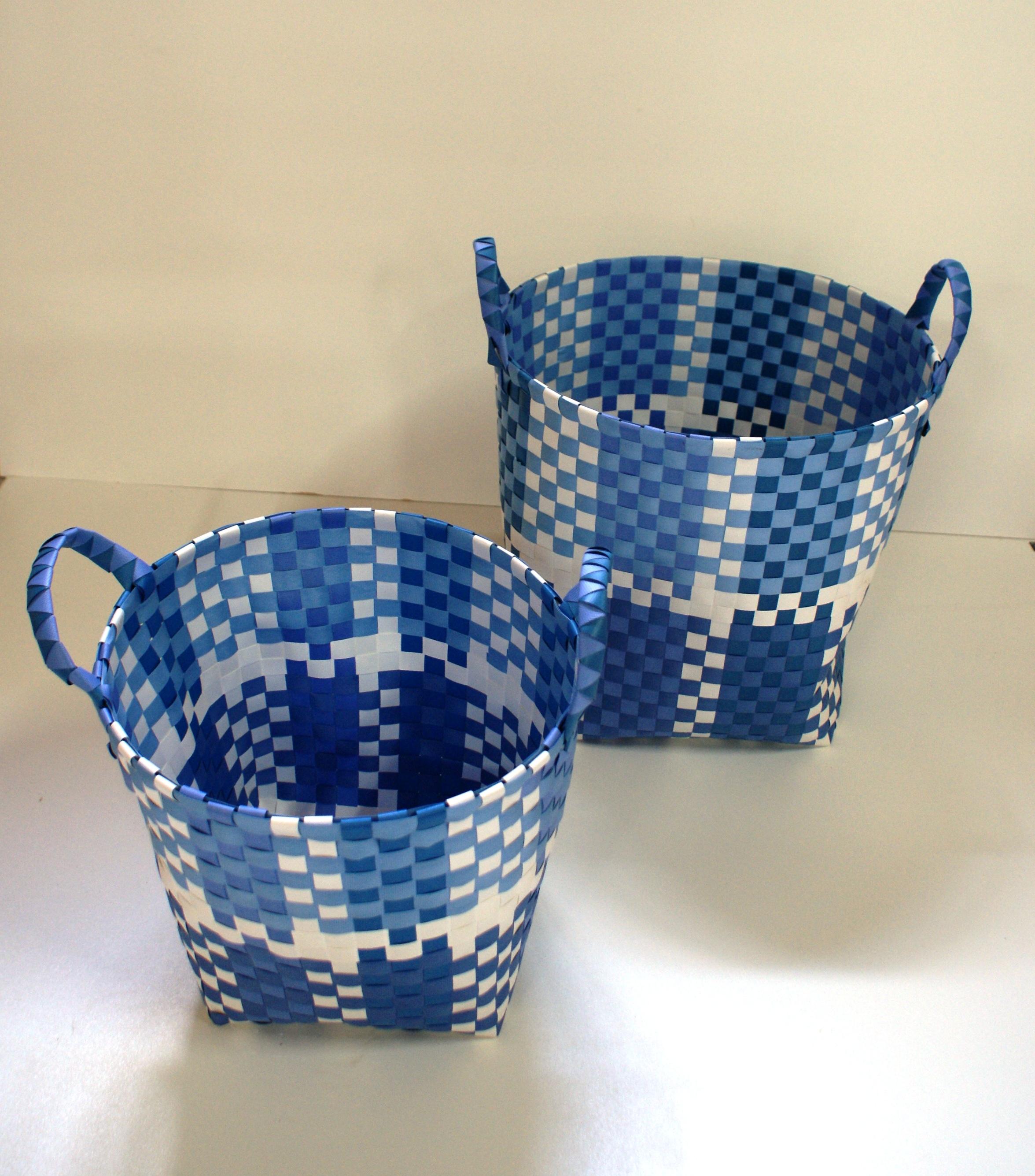 gevlochten manden blauw wit