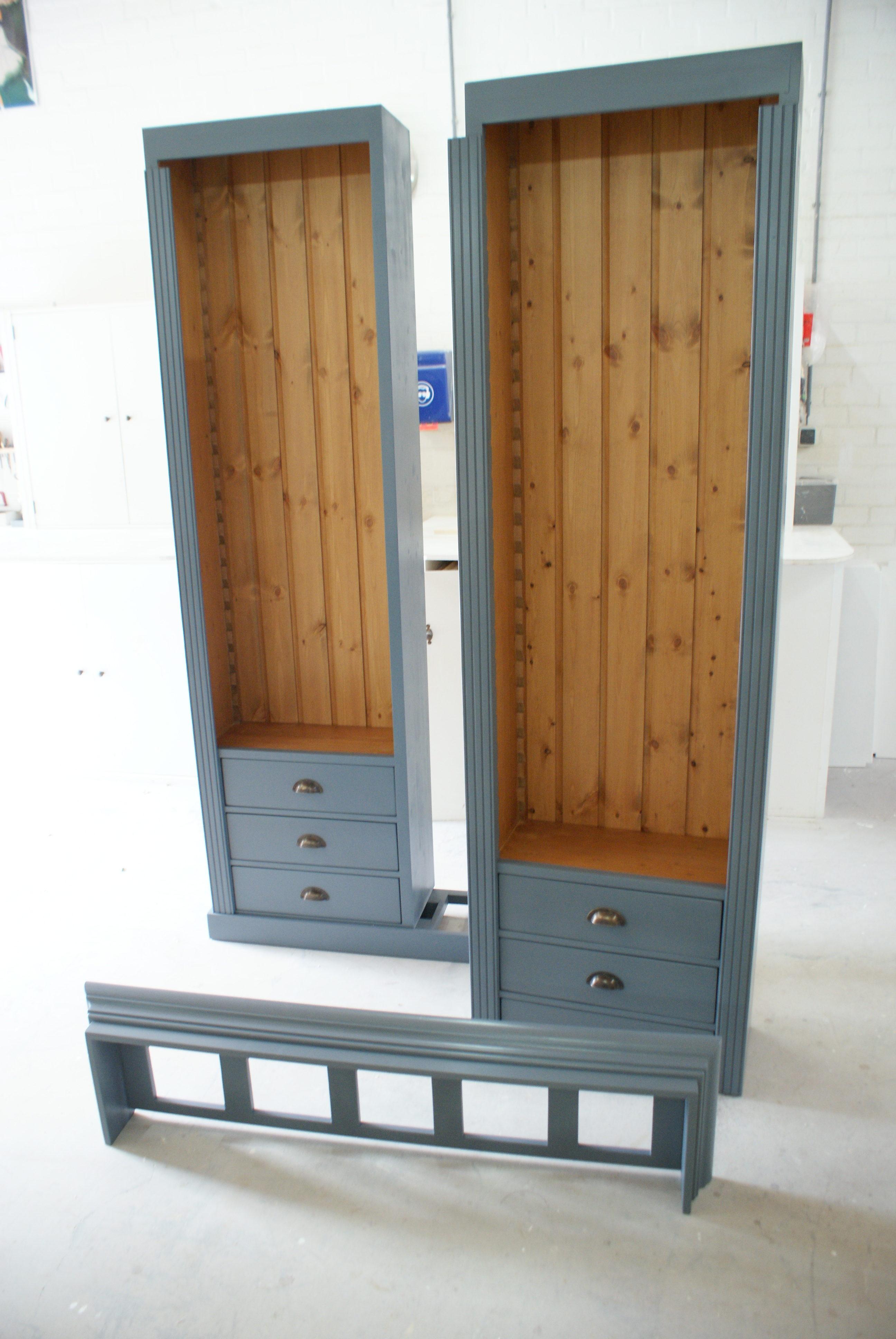 boekenkast op maat ral 7031 meubelmakerij de grenenhoeve. Black Bedroom Furniture Sets. Home Design Ideas