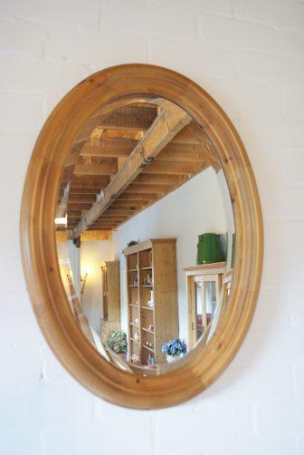 Grenen spiegel ovaal